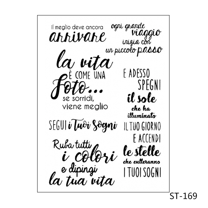 ZhuoAng Italian words Transparent Clear Silicone Stamp Seal for DIY scrapbooking photo album Decorative clear stamp sheets in Stamps from Home Garden