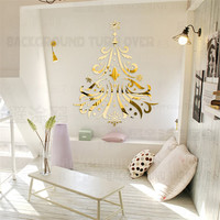 55pcs/set European Style Christmas Tree Acrylic Mural Wall Decals Bedroom/Living Room/Kitchen Wall Stickers Decor R105