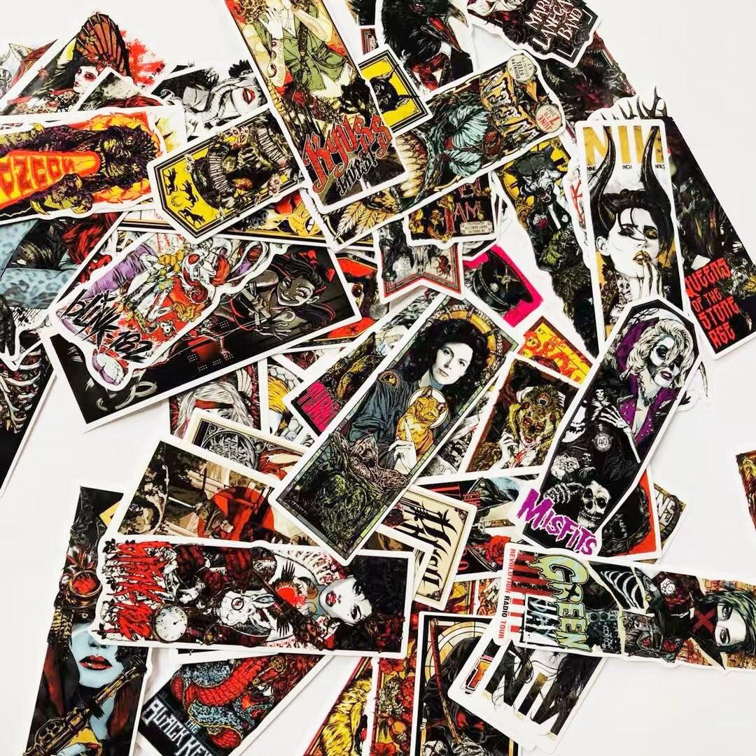 50 Stücke Laptop Aufkleber Graffiti Gothic Vinyl Aufkleber, Motorrad Fahrrad Gepäck Aufkleber Graffiti Patches Skateboard Aufkleber