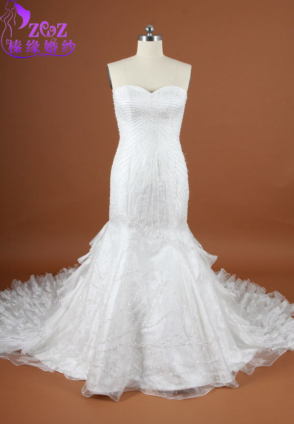 94a71740a58 ElegantCL W029sweetheart  strapless voile with full body beads white peacock  tiered feathers wedding dress-in Wedding Dresses from Weddings   Events on  ...