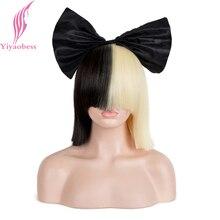 Yiyaobess 10 inç Sentetik Kısa ombre saç Kadın Düz SIA Peruk Cosplay Mix siyah ışık Altın Bob Peruk Için Parti