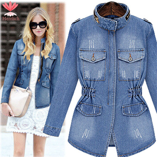 Aliexpress.com : Buy Plus Size Vintage Ladies Long Denim Jackets ...