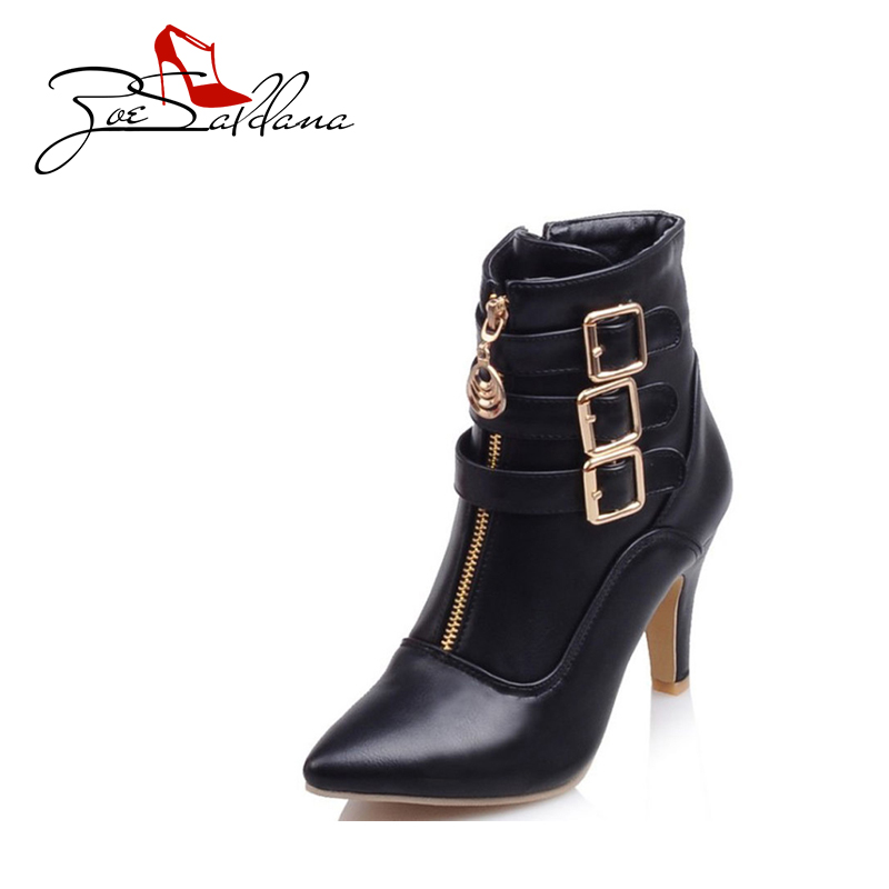 Zoe Saldana 2017 PU Leather Pointed Toe Ankle Stiletto Buckle Zipper High Heel Boots for Ladies Women Shoes top quality 0258007057 17014 lsu4 2 wide band o2 sensor for 99 05 vw jetta 1 8l l4 021906262b 06b906265d 06b906265m
