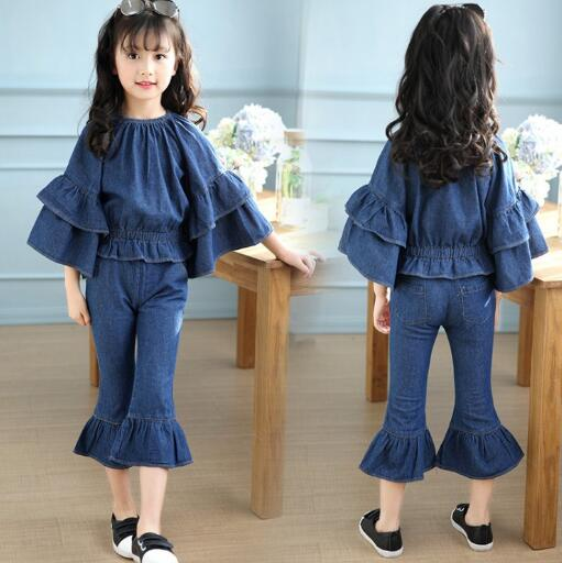 4-12 Years Children Girls Clothing Set 2018 Spring Teenage Jeans Sport Suit Denim Flare Sleeve Kids Girls Clothes Tracksuit4-12 Years Children Girls Clothing Set 2018 Spring Teenage Jeans Sport Suit Denim Flare Sleeve Kids Girls Clothes Tracksuit