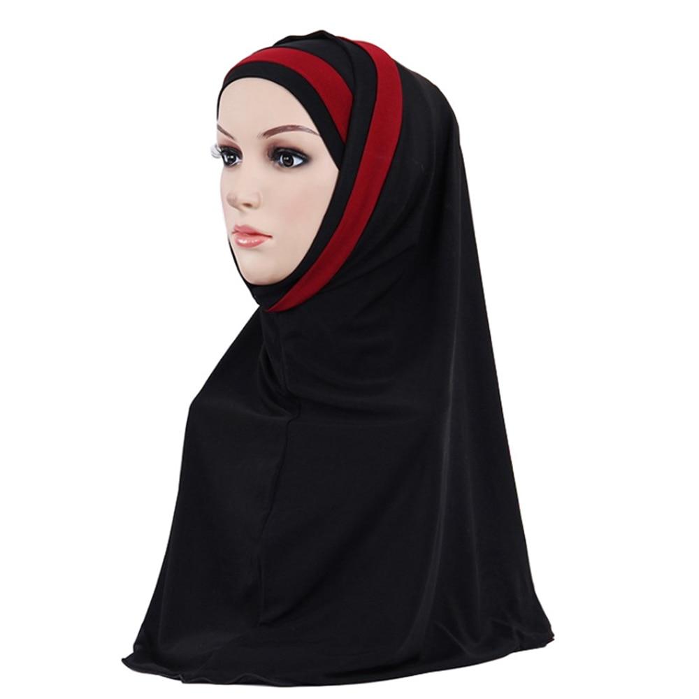 5cc92c7f272 Muslim Hijab Islamic Jersey Turban Women Black Under Scarf Caps Bone Bonnet  Ninja Hijab Head Scarf