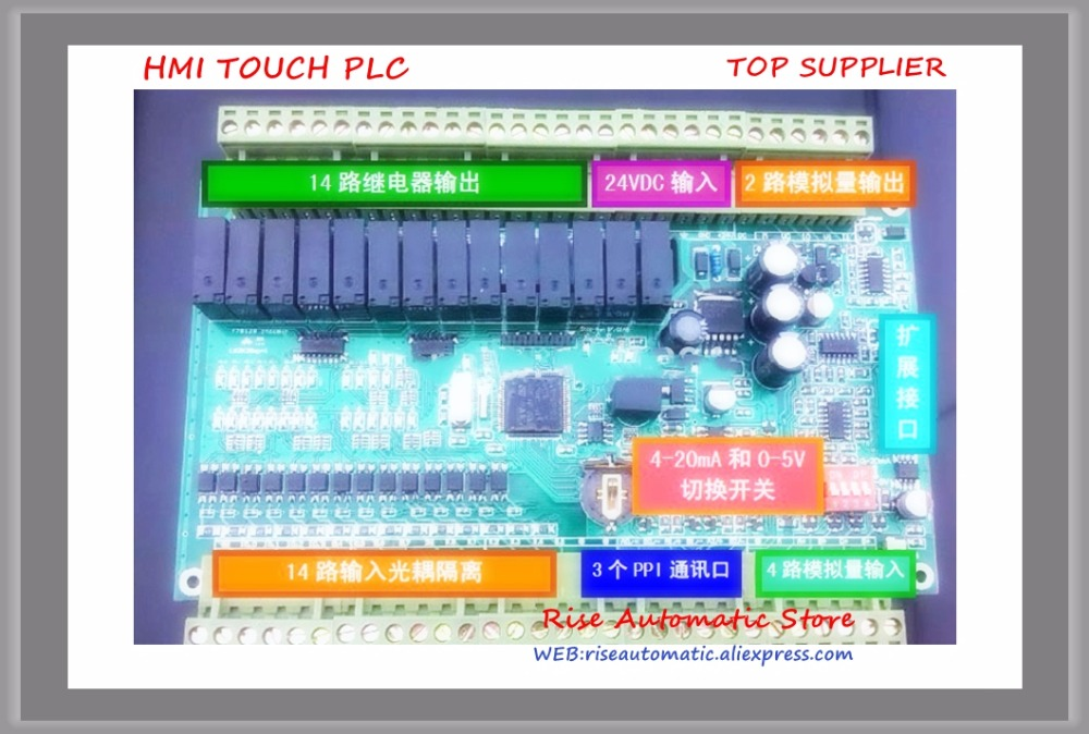 Nouveau 14 entrée 14 relais sortie simple carte PLC CPU224RXP-28 remplacer S7-200 6ES7214-2BD23-0XB0 avec analogique 4 entrée 2 sortie 3PPI