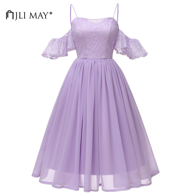 f4a501e096f JLI MAY Lace Chiffon Slip Dress Party Women Clothes Autumn Ruffles  Strapless Spaghetti Strap Sundress Evening Formal Elegant