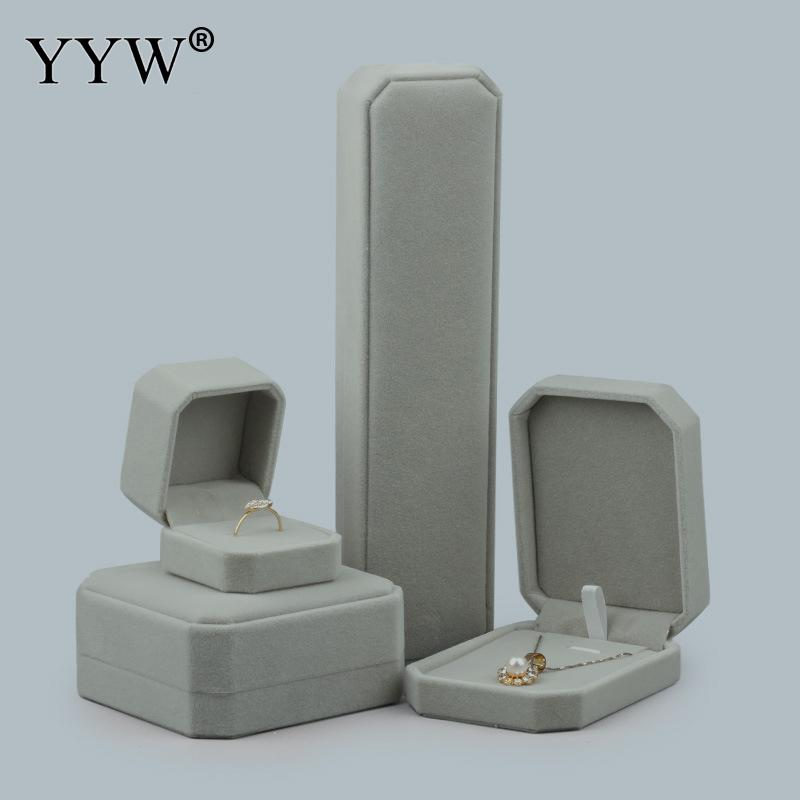 1pc High Quality Elegant Velvet Jewelry Box For Bracelet Ring Necklace Pendant Boxes Gray Color Display Packing Jewelry Gift Box