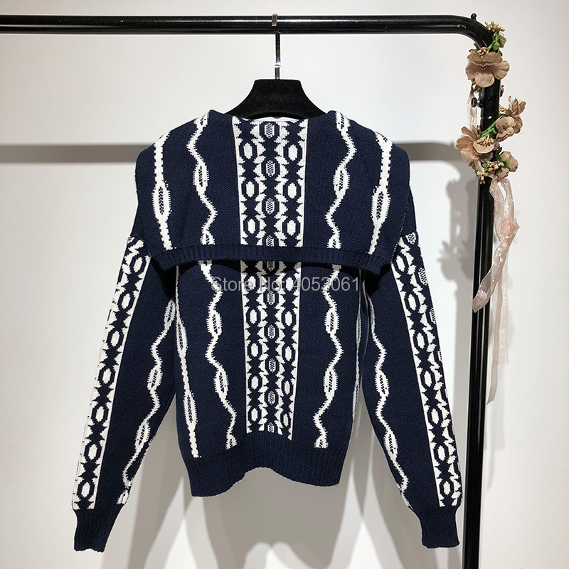 f0d51bf872 Fall Winter 2018 New Women Navy Blue Contrast Color Geometric Pattern  Sailor Collar Knit Cardigan Sweater Front Button Closure-in Cardigans from  Women s ...