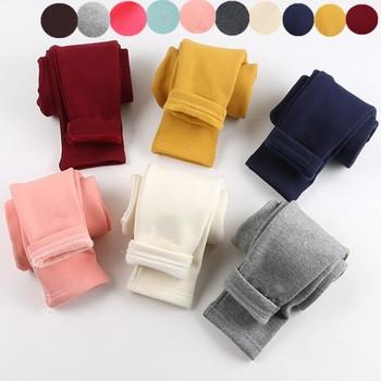 2019 zimowe nowe dziewczęce legginsy bawełniane dodatkowo pogrubiony aksamit ciepłe cukierki kolor dziewczęce spodnie 2-8 lat dziecięce spodnie tanie i dobre opinie Children Wit CASHMERE COTTON CN (pochodzenie) skinny Dziewczyny NONE Pełna długość Dobrze pasuje do rozmiaru wybierz swój normalny rozmiar