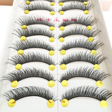 1/5/6/10 Pairs Natural False Eyelashes Fake Lashes Long Makeup 3D Lashes Thick Cross Eyelash Extension Eyelashes For Beauty beauty 10 pairs of natural long black stems thick false eyelashes