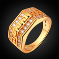 Wedding Bands Yellow Gold Plated Ring for Men Jewelry G Letter Luxury Cubic Zirconia Ring Vintage R381