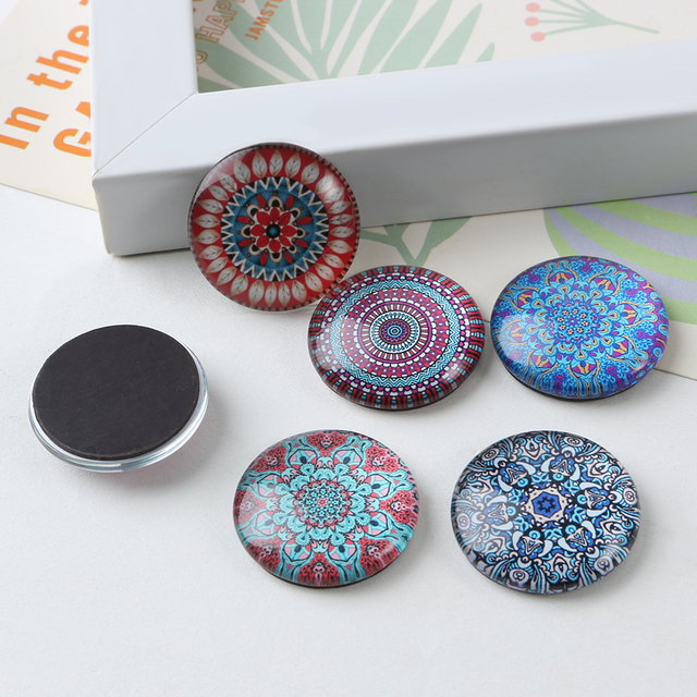 6pcs mixed flower glass cabochon magnetic stickers vinyl round shaped dome glass fridge magnet sticker home
