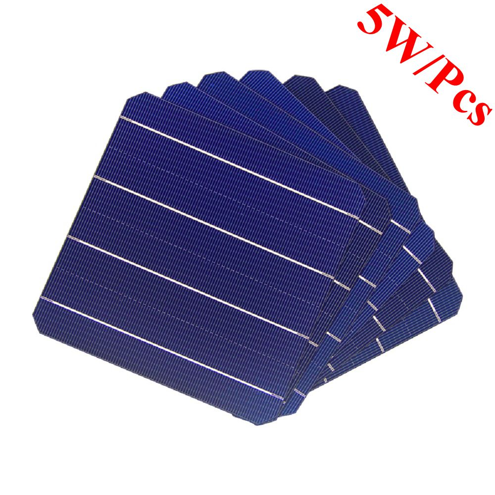 100 Pcs 5W 156 x 156MM Monocrystalline Solar Panel Solar Cells 6x6 For Photovoltaic Home Solar