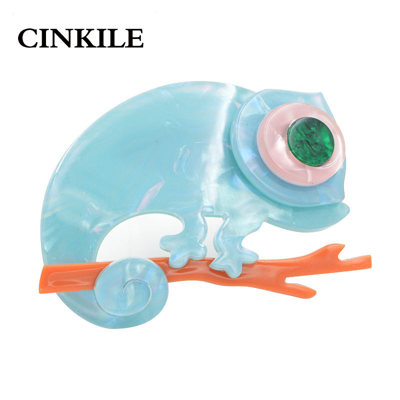 CINKILE Colorful Acrylic Lizard Gecko Chameleon Brooches for Women Environmental Acetate Fiber Pins Fashion Jewelry New 2018