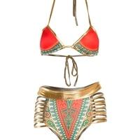 VWIWV 2017 Women Swimsuit Summer Style High Waist Swimsuit Folk Swimwear Push Up Bikini Halter Neck