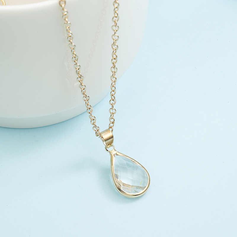 Pierre de naissance naturel goutte d'eau pendentif collier Druzy Quartz gemme pierre cristal bricolage collier de charme pour les femmes bijoux de mode