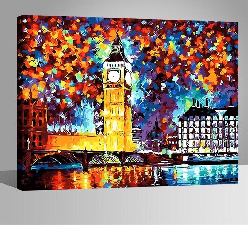 Reloj de Londres cuadros pintura por números DIY pintado a mano de ...