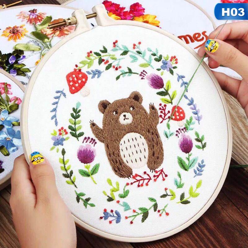 1PC Europe DIY Ribbon Flowers Handmade Embroidery Sampler Kit For Beginner Needlework Kits Cross Stitch Arts Crafts Sewing Decor