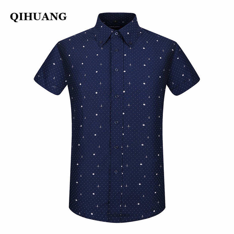 QIHUANG 2018 Summer Men Short Sleeve Shirt Fashion Slim Sailor Element Print Dress Shirt Plus Size Male Social Shirt