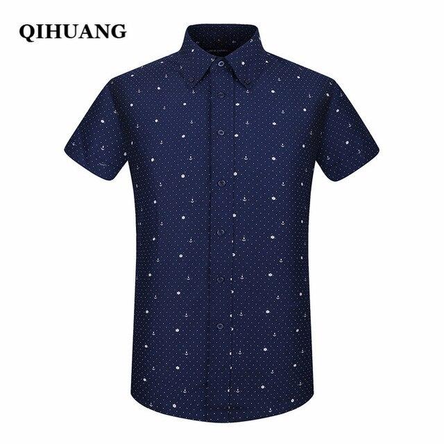 QIHUANG 2018 Verão Homens de Manga Curta camisa de Forma Magro Camisa  Marinheiro Impressão Elemento Camisa 5bb396d79e14e