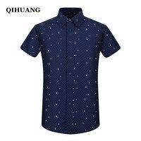 Qihuang 2018 الصيف الرجال قصيرة الأكمام قميص أزياء ضئيلة بحار العنصر طباعة اللباس قميص زائد حجم قميص ذكر الاجتماعية