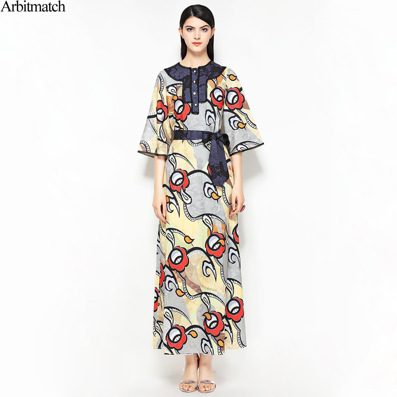Arbitmatch Summer Dresses Women 2018 Noble Delicate Print Brands Designer Plus Size O Neck Half Sleeve Office Lady Long Dress