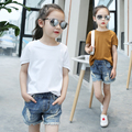 2016 Summer KidsT-shirt Boys Girls Cute  Solid color cotton Tops Baby Clothes4-14T