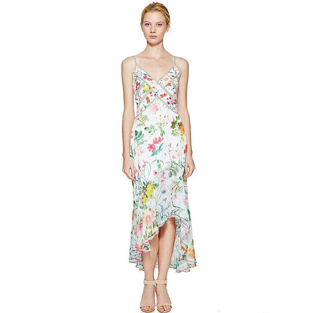 High-quality runway design star dressed in spring and summer 2017 Bohemian beach seaside holiday harness printing chiffon dress