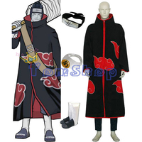 Anime Naruto Akatsuki Hoshigaki Kisame Cosplay Uniform Suit Men's Costumes 4 in 1 Combo Set (Cloak+Headband+Ninja Boots+Ring)