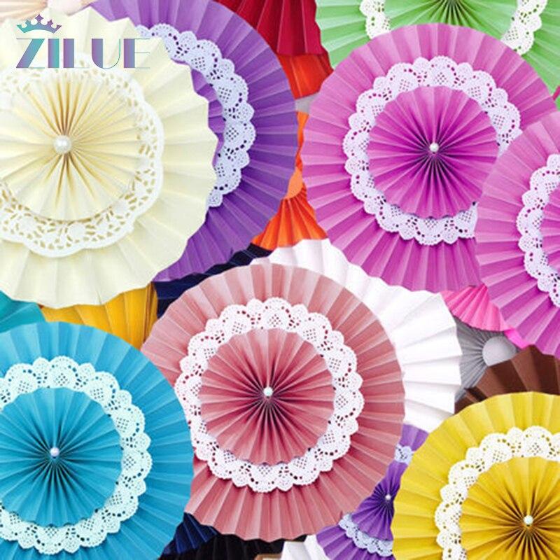 Zilue 10db 12 hüvelyk (30cm) Dupla papír Virágok Ventilátorok - Ünnepi és party kellékek