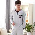 Новый осенью-мужчин пижамы светло-серый с длинными рукавами o-образным вырезом мужчины 100% хлопок пижамы костюм pijamas хомбре домашняя одежда Большой размер L XL XXXL XXXXL