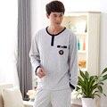 Nuevos hombres del otoño gris ropa de dormir de manga larga del o-cuello hombres 100% algodón pijama traje pijamas hombre homewear plus size L XL XXXL