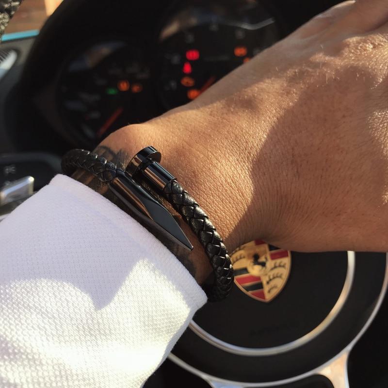 Mcllroy Armband Männer/echtes leder/edelstahl/luxus/männer armband charme gold nagel handgemachte männer schmuck erkek bileklik