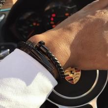 Mcllroy Bracelet Men/genuine leather/stainless steel/luxury/men bracelet charm gold nail handmade men jewelry erkek bileklik