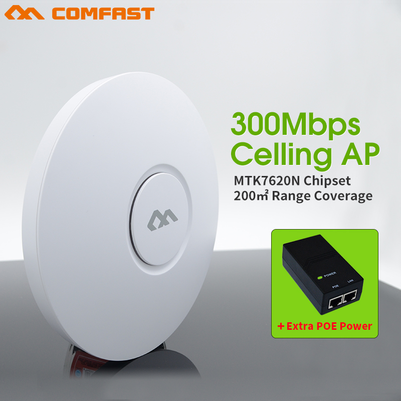 300 Мбит/с беспроводной потолок AP 802.11N беспроводной маршрутизатор Wi-Fi для Wi-Fi покрытие COMFAST CF-E320N точка доступа Wi-Fi добавить 48 В питания poe