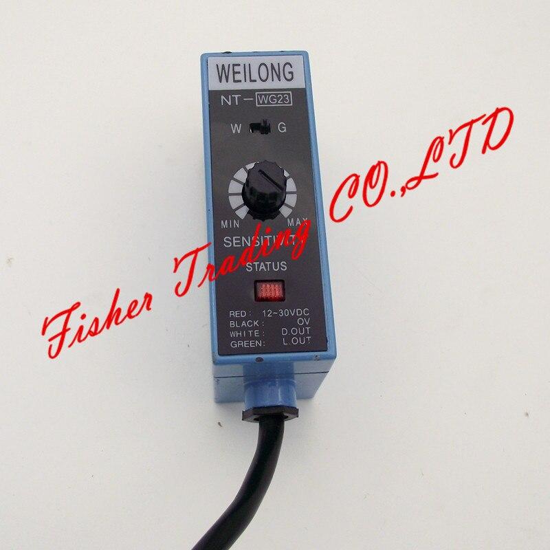 Weilong capteur de marque de couleur NT-WG22 NT-WG23, bord traçage commutateur distinguer couleur/deux sources de lumière réglable/blanc et vert