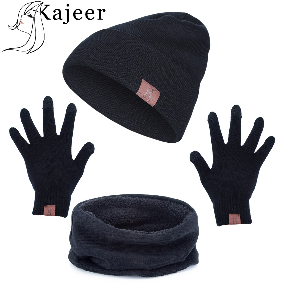 Kajeer Brand Men Women Winter Set Quality Casual Beanies For Fashion Three-piece Suit Knitted Winter Hat Hip-hop Skullies Hat