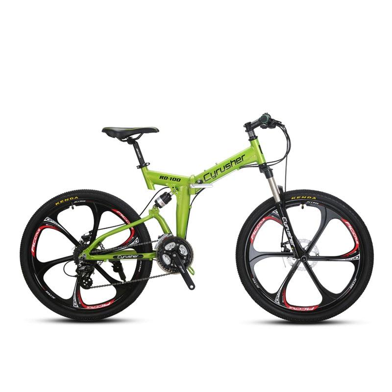 Cyrusher RD100 Folding Unisex Mountain Bike Bicycle Full Suspension 24 Speeds 26X17 Inch Aluminium Frame Double Disc Brakes
