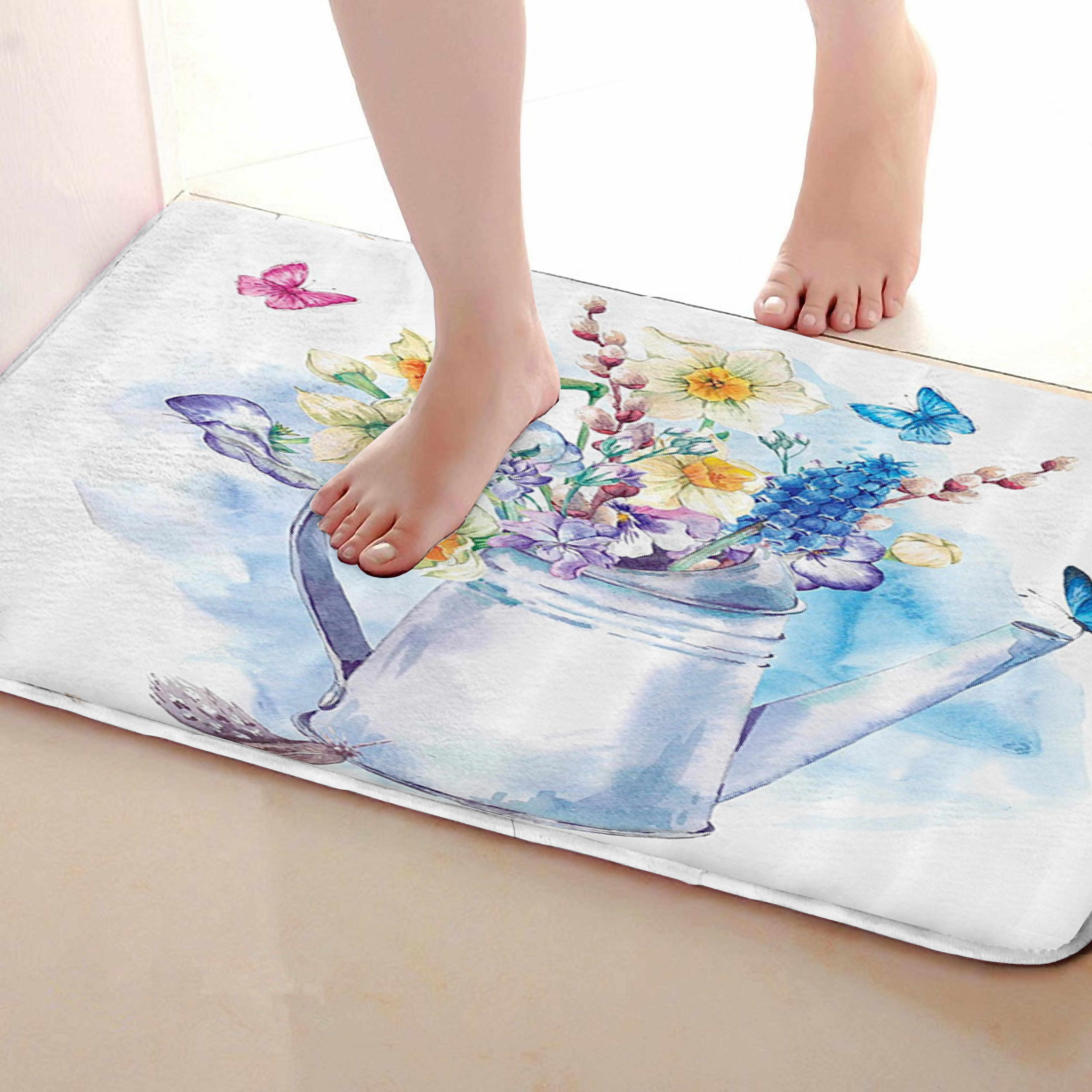 Flower arrangement Style Bathroom Mat,Funny Anti skid Bath Mat,Shower Curtains Accessories,Matching Your Shower Curtain