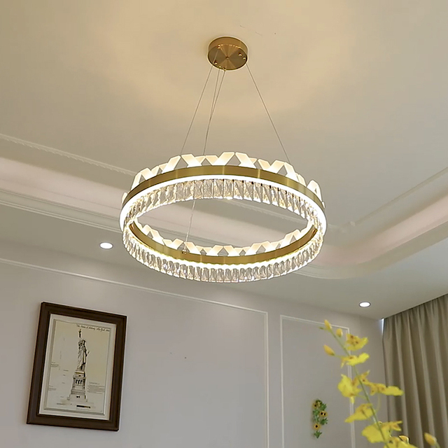 Modern Crystal Chandeliers Home Decoration Lighting 2.4G Remote Control  Dimming LED Pendants Indoor Dining Room