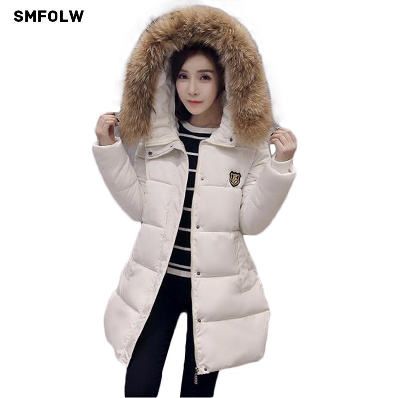 SMFOLW Snow Parka Women Winter Coat Female Plus Size M 4XL Wadded Jacket Big Fur Collar