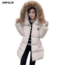 Smfolw снег парка Для женщин зимнее пальто плюс Размеры M-4XL стеганая куртка большой меховой воротник Пальто и пуховики hoooded тонкий зимняя куртка Для женщин