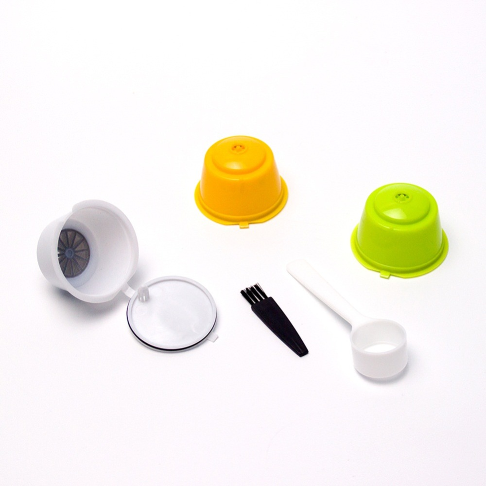 3pcs Coffee Filters Dolce Gusto Refillable Reusable Coffee Capsule Plastic Baskets Caps Set Spoon Filter Pod Soft Taste Sweet