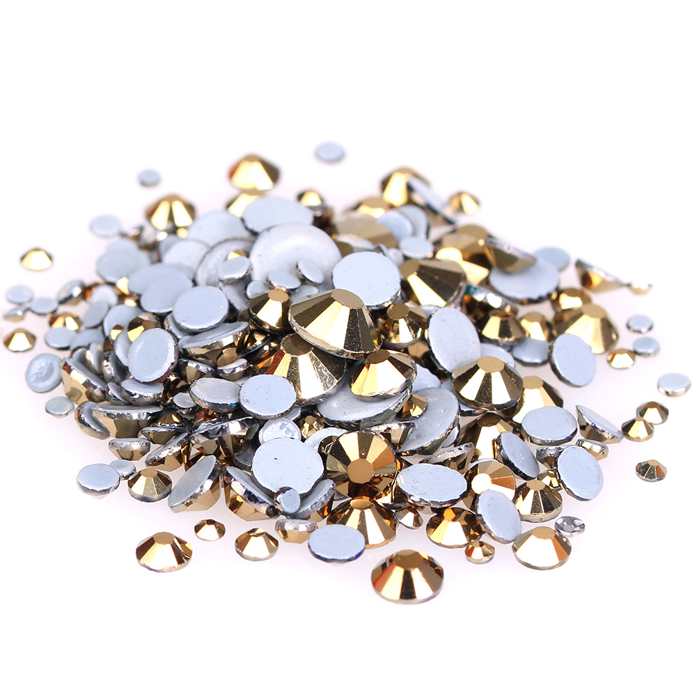 Hotfix Strass 3D Nail Art Decoration Adhesive Rhinestones For Nails Crystal ss6-ss30 And Mixed Aurum Glass Stone Design 10pcs gold 3d rudder metal flower pearl music note mixed rhinestones cross nail art decoration jewelry nails supplies y180 187