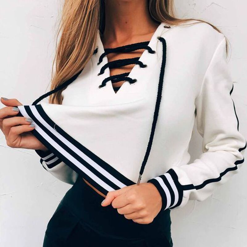 2018 Autumn Fashion Sexy Lace Up T Shirts Women Striped Long Sleeve Casual V Neck Bandage tee shirt femme camisetas tops New