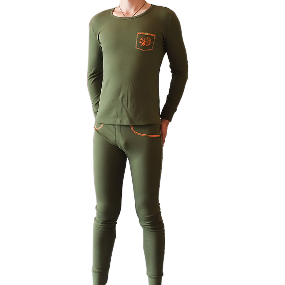 Fashion Thermal Underwear Sets Suit For Men Polartec Winter Warm Long Johns Underwear False Belt Design Pajama LB