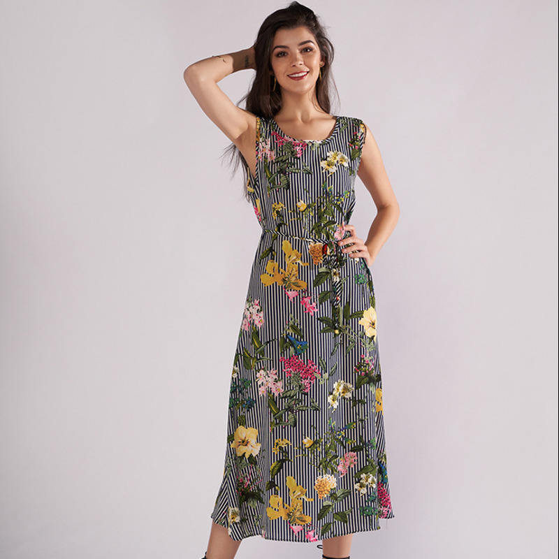 2018 Summer Dresses Casual Sexy Clothes For Women European Round Neck Sleeveless Printing Dress Elegant Office Lady Dress Sale