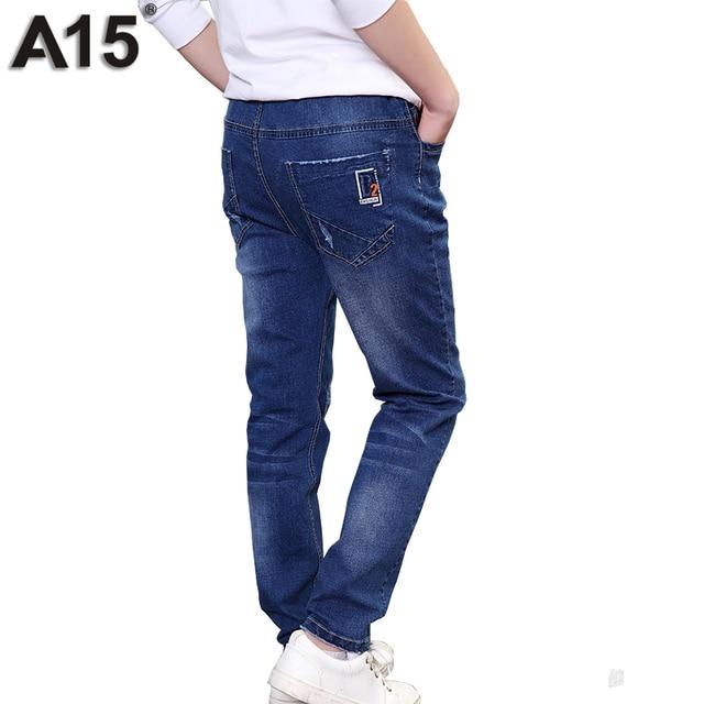 A15 Большие Мальчики Джинсы для мальчиков Брюки Детские брюки Корейских Детей Одежда Мальчик джинсы Брюки-Подросток Мальчик Джинсовые Брюки Возраст 10 12 13 14 Года
