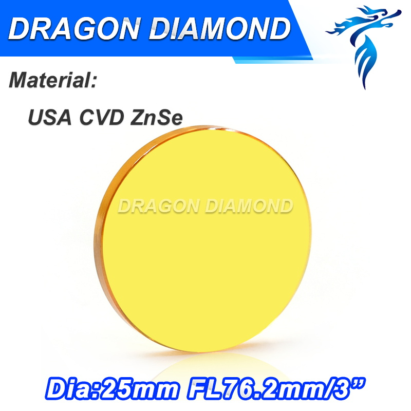 Free Shipping 25mm dia USA imported ZnSe material co2 laser lens focus length 76.2mm for cnc cutting free shipping high quality usa znse co2 laser focus lens dia 15mm focal length 50 8mm for trotec speedy 100 gcc co2 laser machin